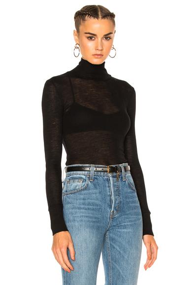 Sheer Rib Turtleneck Sweater