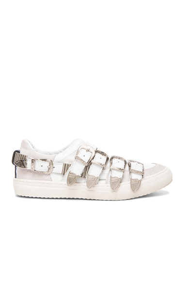 Buckled Leather Sneakers