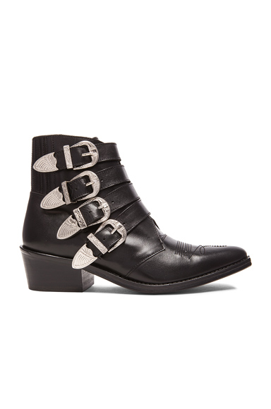 Leather Buckled Booties