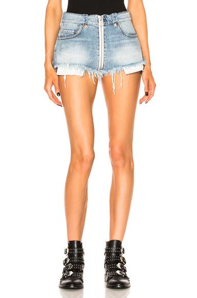 Full Zip Denim Shorts