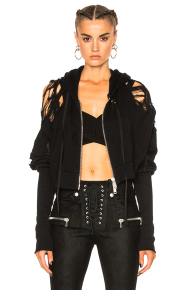French Terry Crop Zip Up Hoodie
