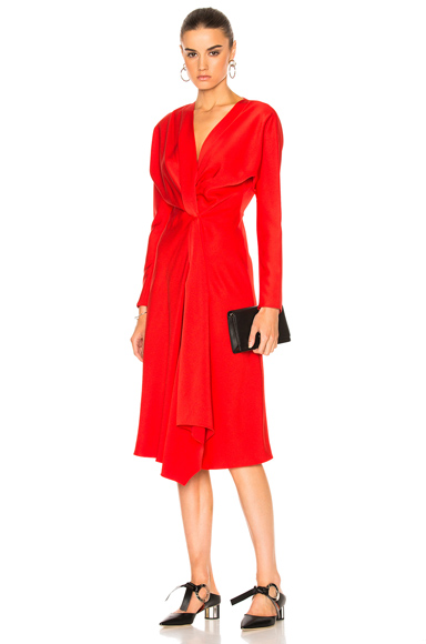 Crepe Back Satin Drape Wrap Dress