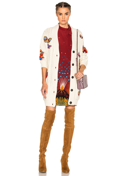 Embroidered Long Cardigan