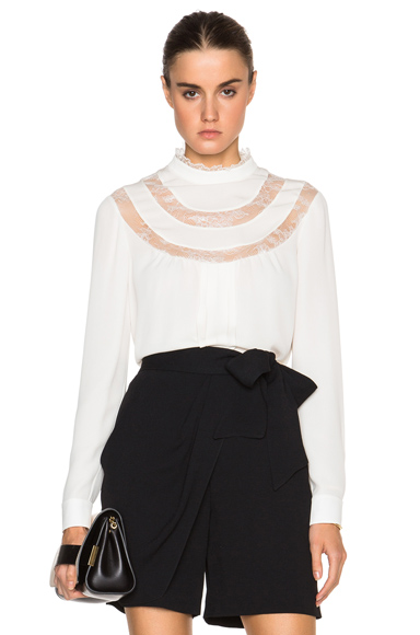 Lace Detail Collared Blouse