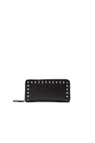 Rockstud Noir Zip Around Continental Wallet
