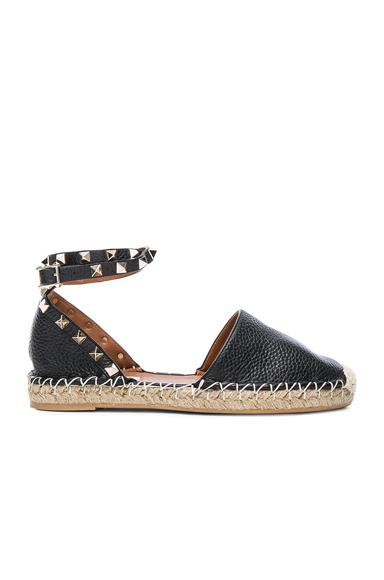 Rockstud Double Flat Leather Espadrilles