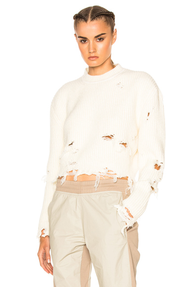 Destroyed Crop Boucle Sweater