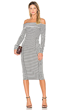 Long Sleeve Off The Shoulder Midi Dress – Soft White Multi