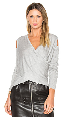 Cross Front Cut Out Shoulder Sweater en Gris
