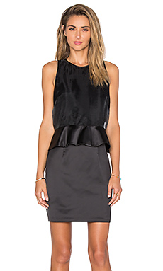 Organza Overlay Ruffle Waist Dress in Rich Black