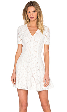 Lace Flare Dress in Cloud