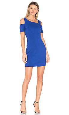 Cold Shoulder Bodycon Dress en Blue Dahlia