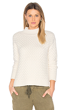 Honeycomb Turtleneck Sweater en Craie