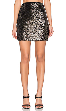 Sequin Mini Skirt in Rich Black