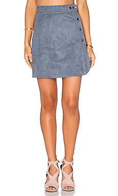 Side Button A-Line Skirt in Grey Mist