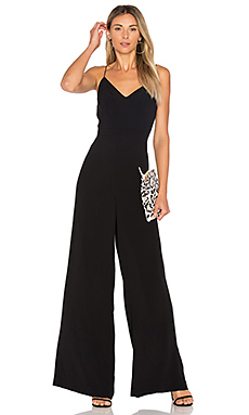 Lace Up Back Jumpsuit en Rich Black