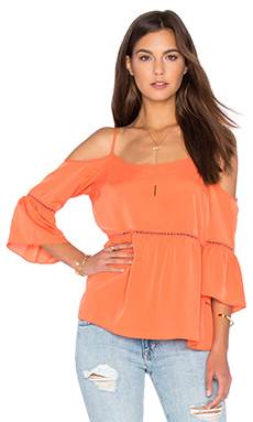 Cold Shoulder Peasant Top in Cactus Coral