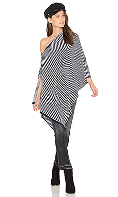 Chumash Stripe Poncho in Navy & Cloud