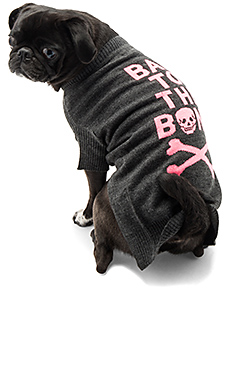 Bad To The Bone Dog Sweater – Charcoal & Pink Skull