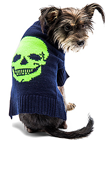 Skull Dog Sweater – Navy & Neon Yellow
