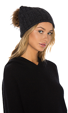 Haven Cashmere Asiatic Raccoon Fur Beanie en Charcoal