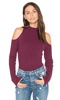 Gianna Cold Shoulder Sweater in Syrah
