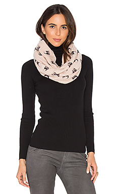 Jack Cashmere Infinity Scarf – Flower & Charcoal Skull