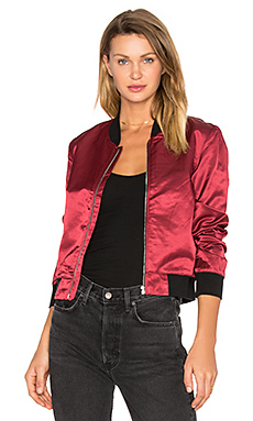 Satin Bomber Jacket in Garnet Red