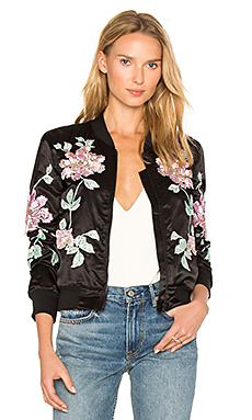 Floral Embroidered Jacket en Noir