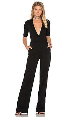 Plunge Neck Jumpsuit in Black Overdye