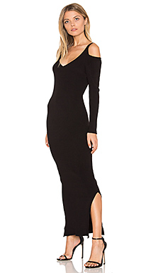 Rib Cold Shoulder Maxi Dress en Noir