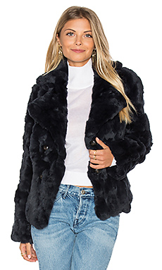 Rabbit Fur Peacoat in Navy