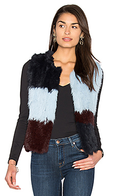 Patchwork Rabbit Fur Vest in Robbins Egg Combo