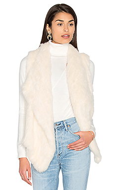 Drape Front Rabbit Fur Vest in French Vanilla