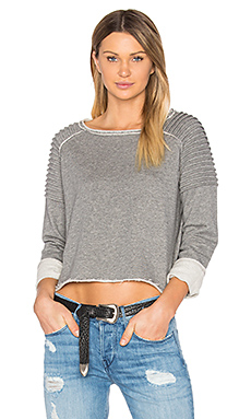 Unfnished Edge Sweatshirt in Charcoal