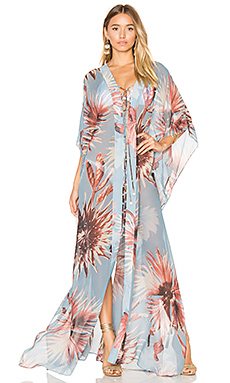 Maxi Flower Kaftan en Antique Blue