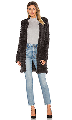 Knit Rabbit Fur Coat – 深灰色
