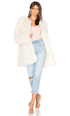 Marabou Feather Coat en Beige