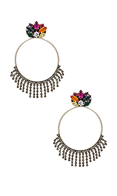 Crystal Cluster Hoop Earring in Rainbow Multi