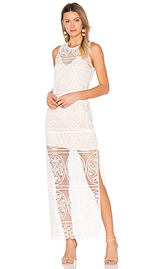 Blackjack Embroidered Column Maxi Dress in White