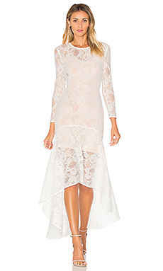 Galella Lace Asymmetric Maxi Dress in White
