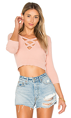 Leona Cropped Sweater in Rose Linen