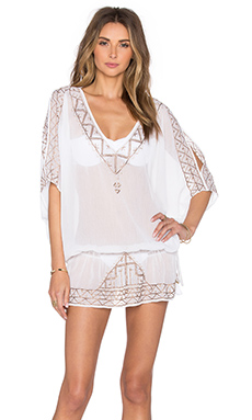 Embroidered Tunic Cover Up in White