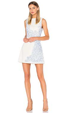 Malin Embroidered Dress in Cream & Cobalt