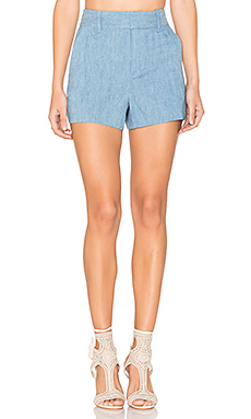 Deacon High Waisted Shorts in Light Chambray