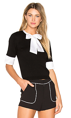 Ciel Tie Neck Sweater en Black & White