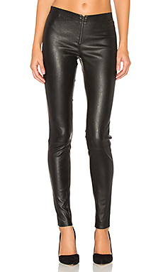 Front Zip Leather Legging in Black