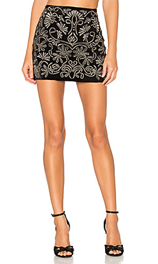 Elana Embroidered Skirt en Noir & Argent