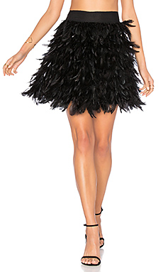 Cina Feather Mini Skirt en Noir