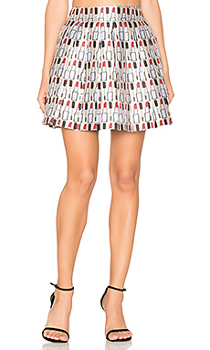 Fizer Pleat Mini Skirt – Cream, Black & Red